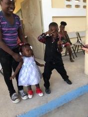 A Haitian boy has some fun.
